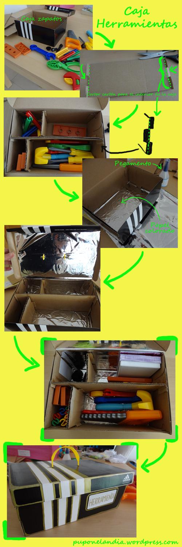caja herramienta niños en cartón