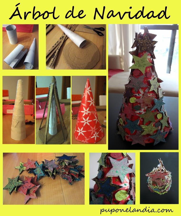 Árbol de navidad en cartón - actividad con niños - puponelandia.com