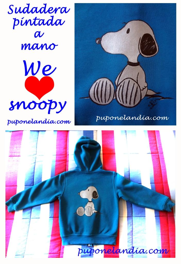 WeLoveSnoopy - Sudadera pintada a mano - puponelandia.com
