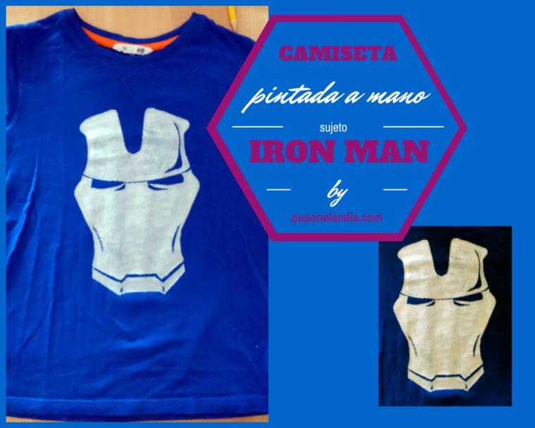 Camiseta de Iron Man pintada a mano - puponelandia.com